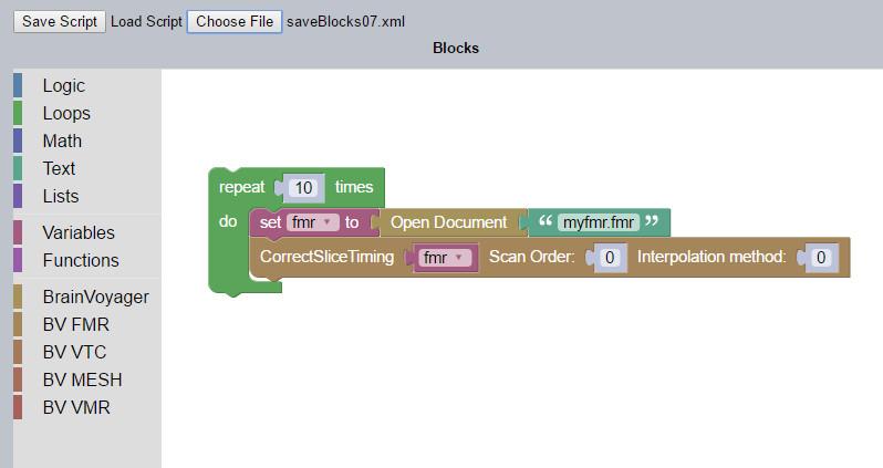 Visual Scripting Editor II - Support BrainVoyager