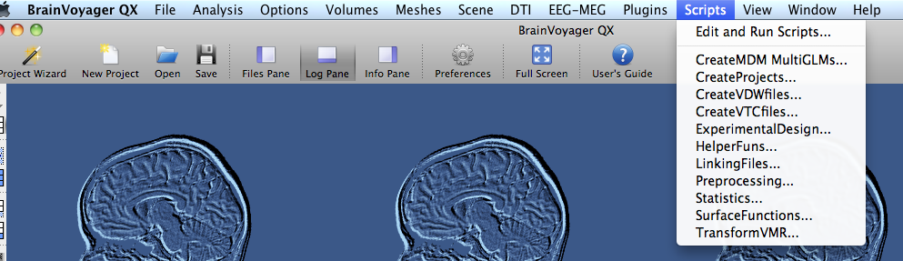 how to open BrainVoyager script editor